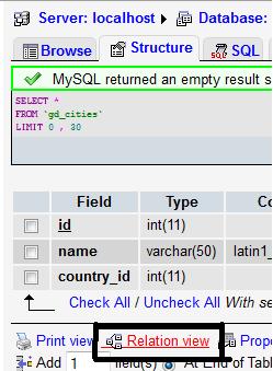 MySQL/PHPMyadmin Relation View Option