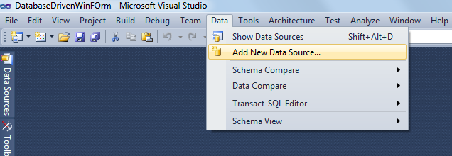 how to create new data source to sql server