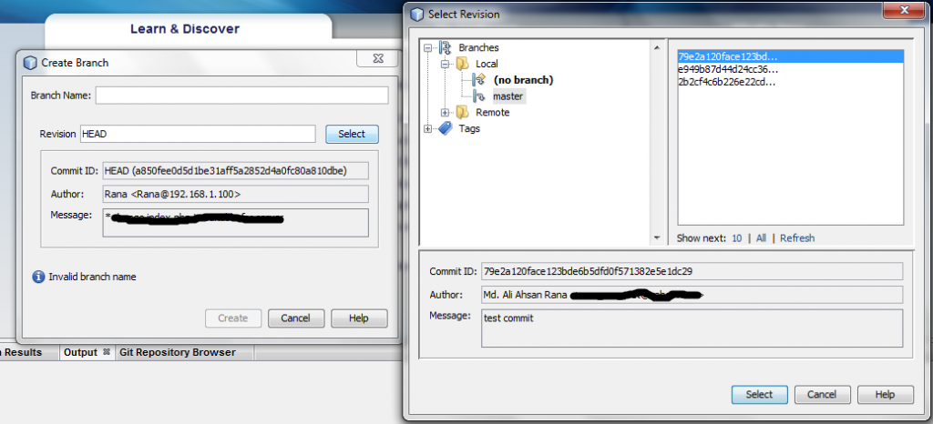 Create Branch Using Netbeans GIT Plugin