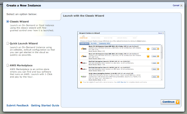EC2 Launch Instance Window
