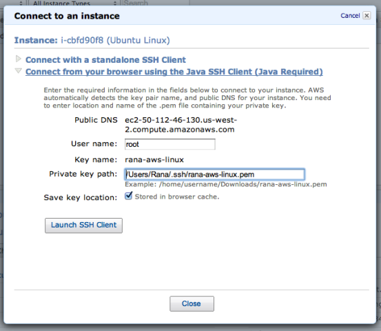 Java SSH Client For Connect To Amazon EC2 Instance Window
