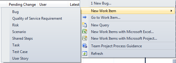 Create New Task Menu