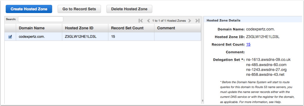 hosted zone DNS records